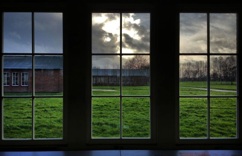 Window View View Sky Grass Winter Neuengamme  Concentration Camp