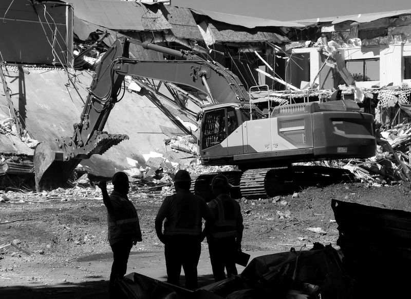 Excavator Construction Workers Demolition Zone Demolition Black And White Blackandwhite Monochrome Construction Machinery Heavy Machinery