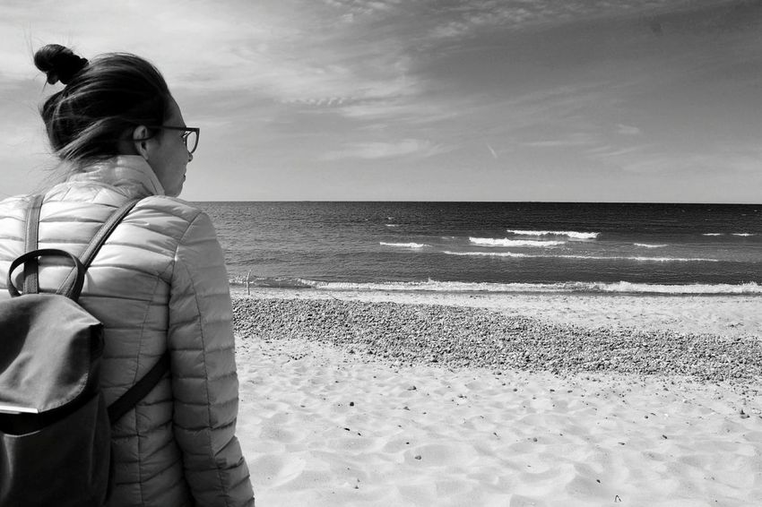 Sea Beach Horizon Over Water Only Women One Person Water Sand Adult One Woman Only Adults Only People Tranquil Scene Rear View Outdoors Nature Women Vacations Sky Day Wathing Sea Klaipeda Lithuania Black & White