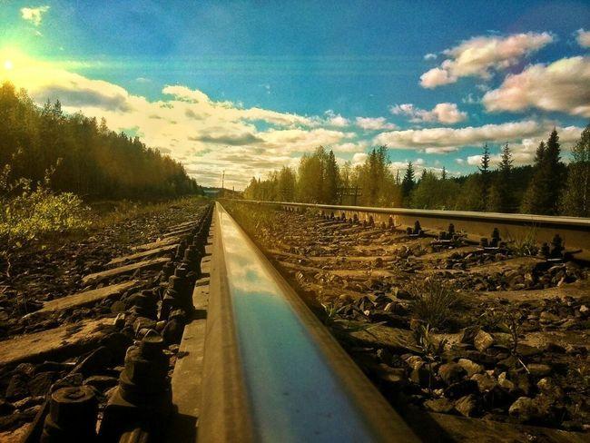 Railroad Track Cloud - Sky Sky The Way Forward No People Rail Transportation Transportation Day Outdoors Tree Nature