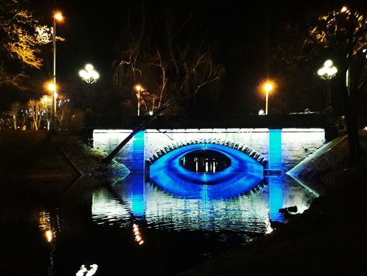 Illuminated Night Outdoors Bridge Lights Reflection Water Water Reflections Nightphotography Night Riga Riga Latvia Rigaphotos Latvia