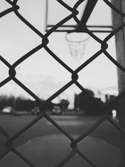 Blackandwhite Fence Chainlink Fence Protection Security Barrier Boundary Safety Close-up Backgrounds Focus On Foreground Sport Day Outdoors Court Pattern