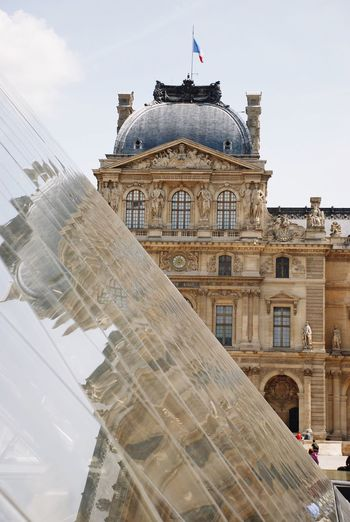 Architecture Louvre Paris French France Museum Glass Pyramid Reflection Built Structure Building Exterior Day Low Angle View Travel Destinations Sky Outdoors No People