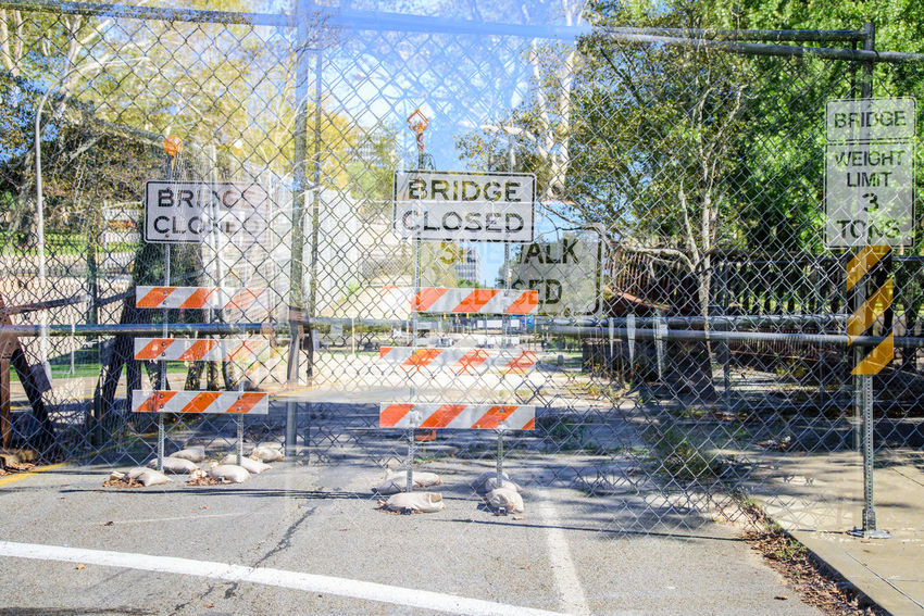 Bridge - Man Made Structure Bridge Closed  Close-up Construction Double Exposure Road Construction Street Street Sign Wrong Way