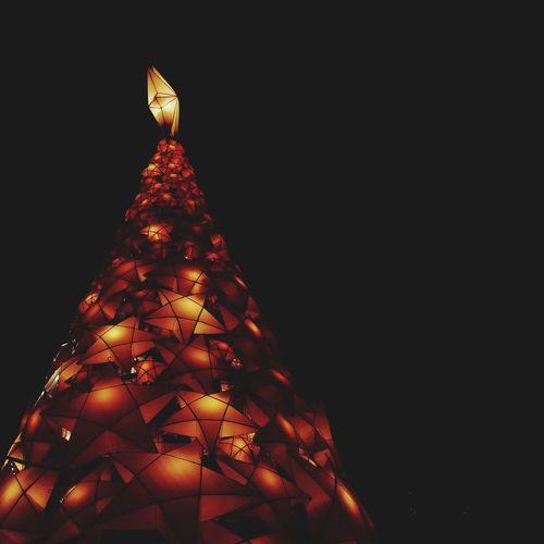 Close-up of illuminated christmas tree at night