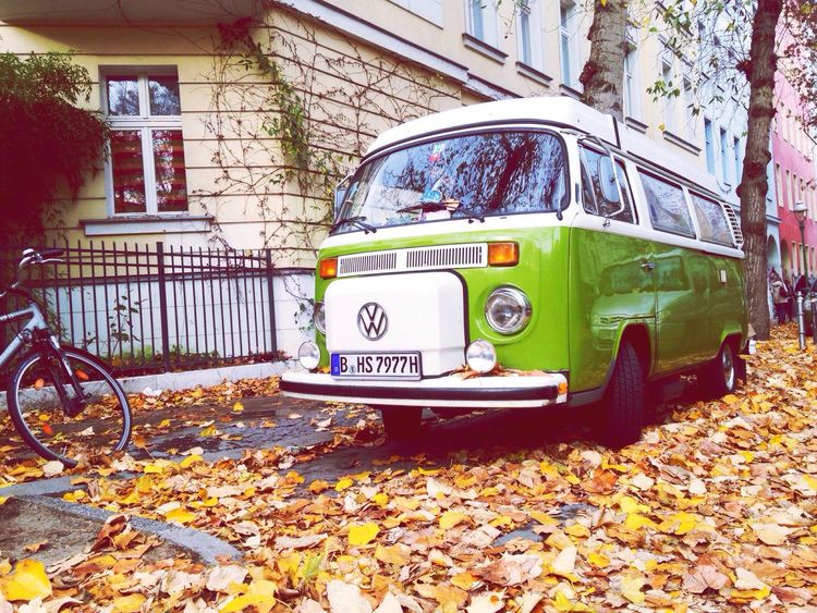 Hippievan Hippie Autumn Leaves Futurevehicle VW Iconic Electric Car Vintage Cars Old School Berlin Hit The Road