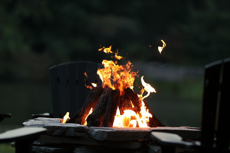Close-up of fire on wood