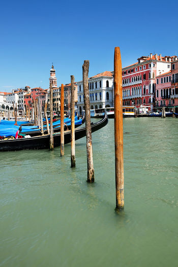 Row of wooden posts in grand canal