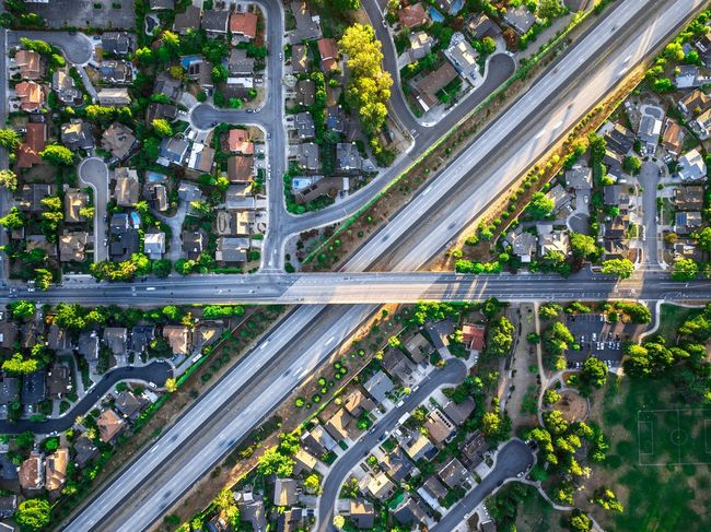 Drone shot of Cupertino Aerial View Transportation City High Angle View Traffic City Life Modern Architecture Overpass Built Structure Road Speed City Street Building Exterior Highway Street Home Ownership Mode Of Transport Car Cityscape Sunset Dji Scenics Streetphotography Cupertino