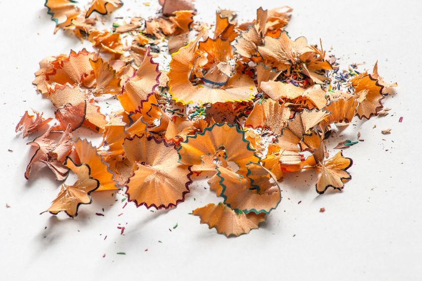 Pencil Shavings Food Indoors  White Background High Angle View Food And Drink Studio Shot Close-up No People Large Group Of Objects Still Life Orange Color Freshness Pencil Autumn Yellow Directly Above Vegetable Messy Multi Colored Snack
