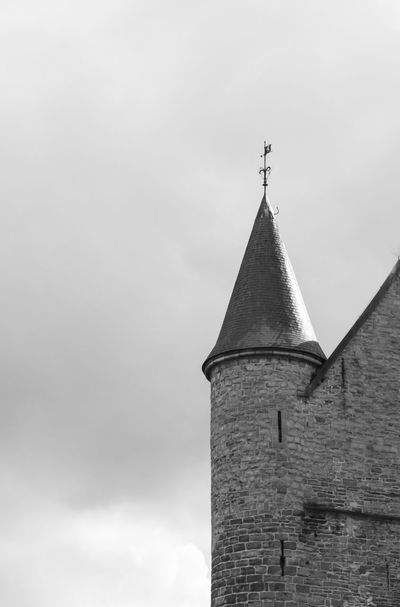 Belgian Architecture Architecture Belgium Black And White Built Structure Cloud - Sky Day Ghent Gothic High Section Low Angle View No People Outdoors Overcast Sky Tall - High Turret