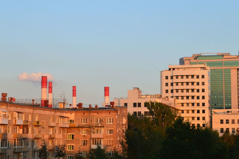 Buildings Against Clear Sky