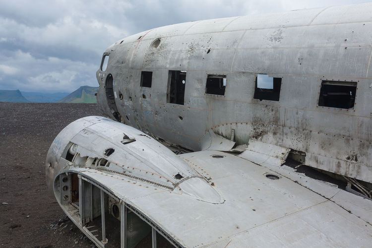 View of abandoned airplane