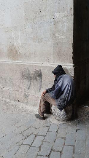 Beggarman Poorpeople Praying Sitting Full Length Men