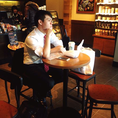 Thinking about Thinking About Life Man Coffee Time Starbucks IPhoneography Enjoying Life Japan Stories From The City