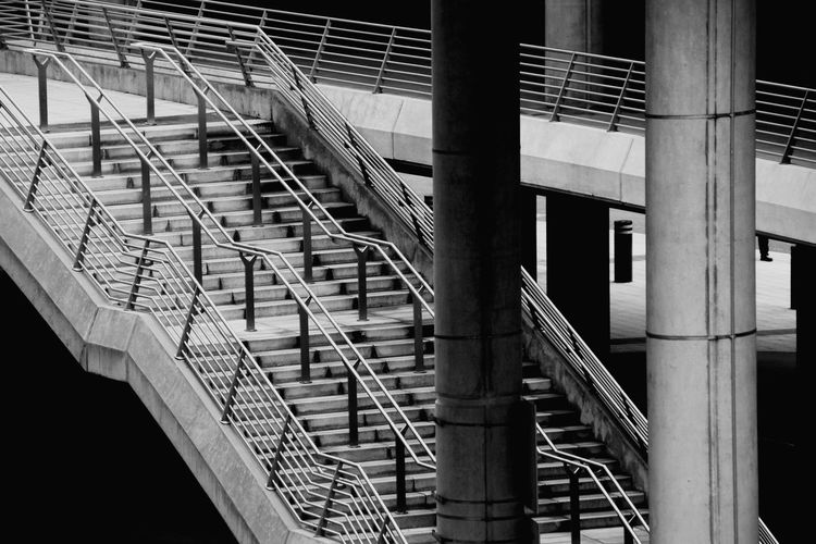 Architecture Steps And Staircases Steps Staircase Black And White Bw_collection City Steel Built Structure Railing Hand Rail Stairway