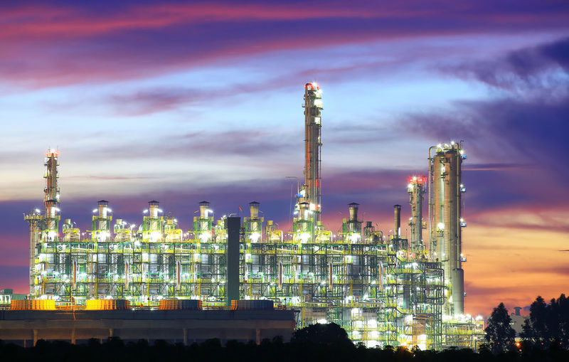Architecture Building Exterior Built Structure Business Chemical Plant Cloud - Sky Distillation Environment Environmental Issues Factory Fuel And Power Generation Illuminated Industry Nature Night No People Oil Industry Outdoors Pollution Purple Refinery Sky Smoke Stack Sunset Technology