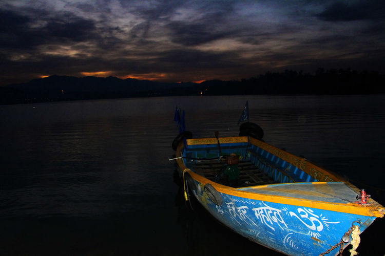 Beauty In Nature Boat Cloud - Sky Dusk Lake Nature Scenics Sky Sunset Transportation Water Nangal The Week On Eyem EyeEmNewHere