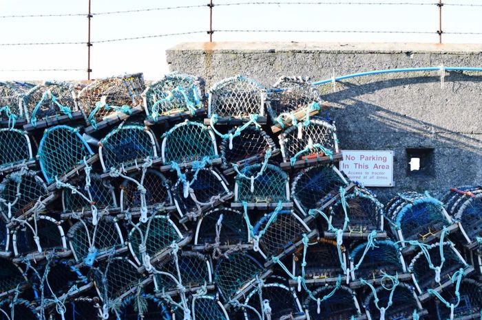 Assembled   Blue Pots Nets Fishing Seaside Beach Lobster Pots Lobsters Seafoods Sunlight Sunlight And Shadow Outdoors Sky Taking Photos EyeEm Gallery Eye4photography  Exploring