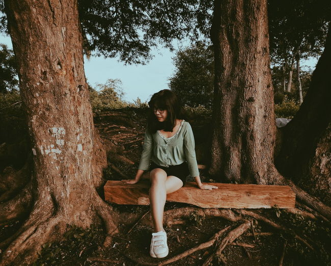 Full Length Of Young Woman Sitting By Tree Trunk In Forest