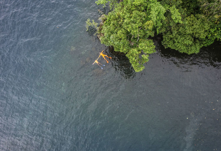 Aerial view of friends swimming in lake