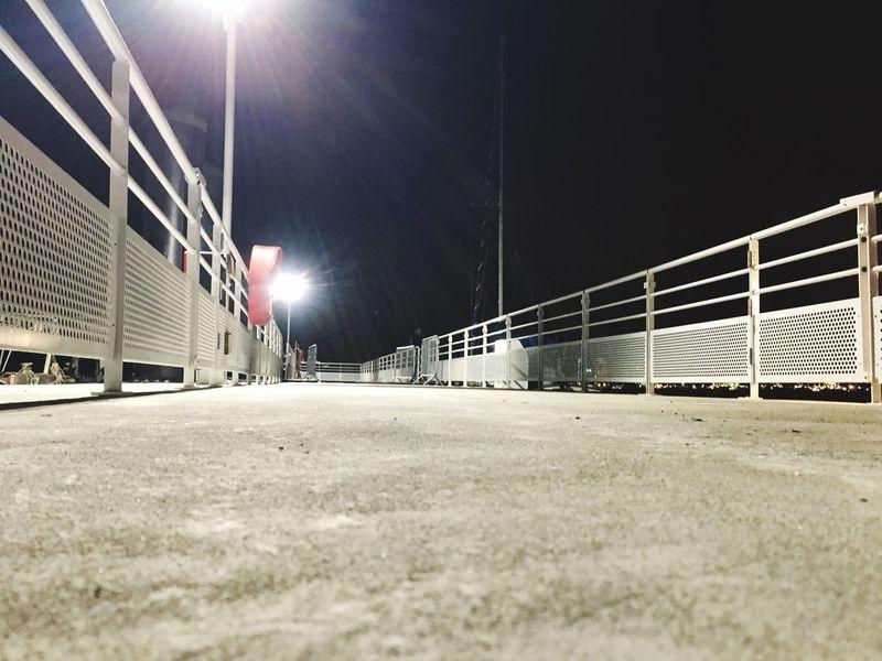 Night Illuminated Floodlight Street Light Built Structure No People Architecture Night Lights Dock Path Fance