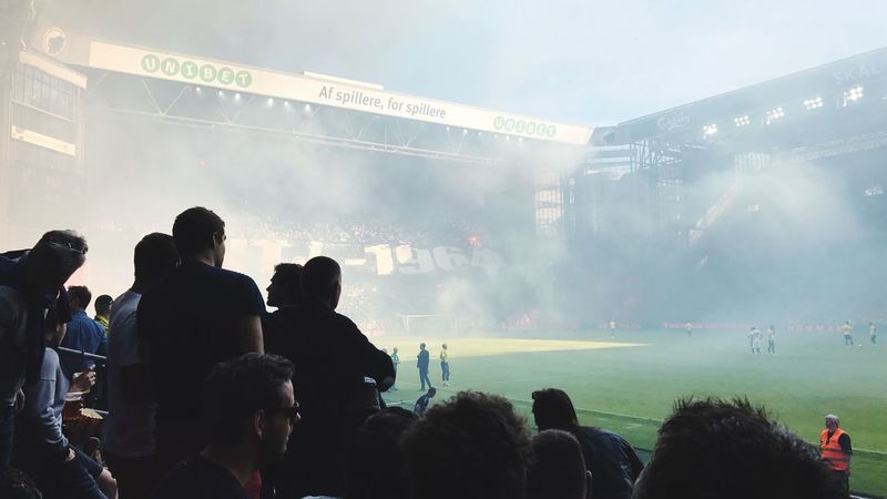 Fodbold Large Group Of People Crowd Real People Leisure Activity Enjoyment Event Audience Smoke - Physical Structure Togetherness Excitement Outdoors Fun Watching Performance