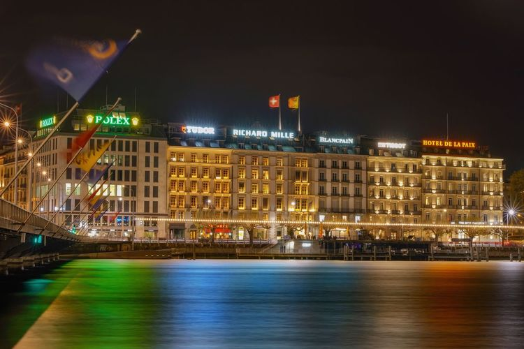 Architecture Building Exterior Built Structure Illuminated Night Reflection Water Waterfront No People City Building Long Exposure Geneve Switzerland Swiss Suisse  Ginebra (Suiza) Cityscape Architecture Rhône River Reflections In The Water