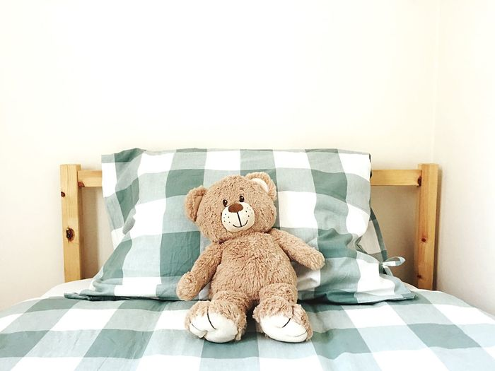 Pillow Duvet Quilt Bed Childhood Stuffed Toy Teddy Bear Toy Indoors  Representation No People Copy Space Wall - Building Feature Home Interior Domestic Room Checked Pattern Still Life