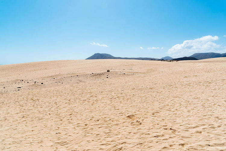 Sand Dunes in Canary Islands Canary Islands Fuerteventura Arid Climate Beauty In Nature Blue Climate Corralejo Day Desert Environment Idyllic Land Landscape Mountain Nature No People Non-urban Scene Outdoors Remote Sand Sand Dunes Scenics - Nature Sky Tranquil Scene Tranquility