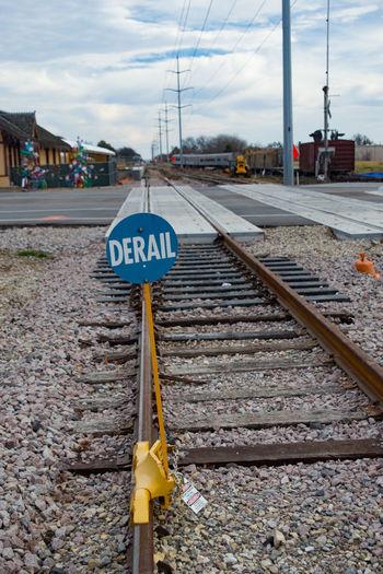 Railroad Track Sign Communication Derail No People Rail Transportation Railroad Station Railroad Track Transportation