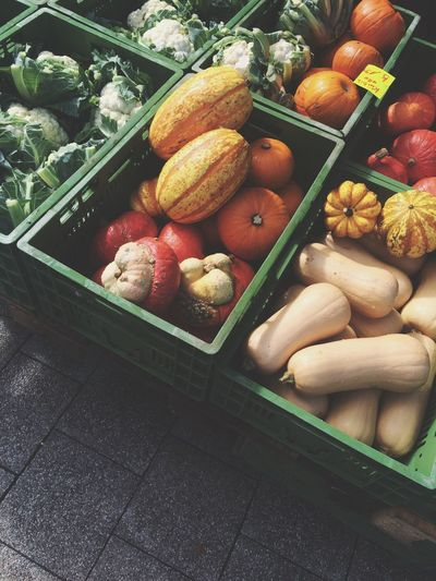 High Angle View Of Vegetables In Crate For Sale At Market