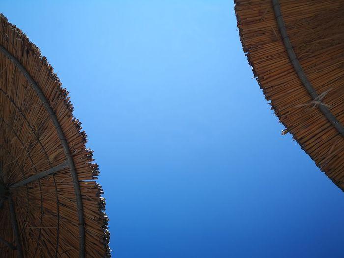 all clear .. Umbrella Clear Sky Holidays Beach Vivid Minimal Clear Sky Blue Stack Sky Architecture