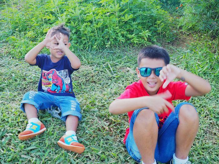 Friendship Child Childhood Togetherness Twin Smiling Bonding Boys Girls Males