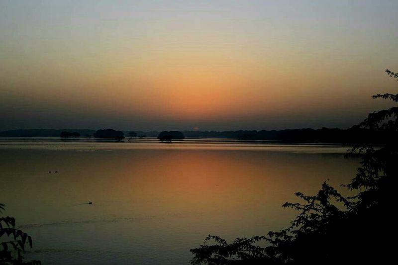 Nature Outdoors Water Sky Scenics Lake Landscape Beauty In Nature Lake Tholbirdsanctuary Ahmedabad Dawn Sunrise EyeEmNewHere Orangesky