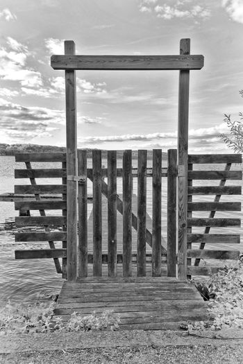 Everything forbidden Barrier Black & White Black And White Blackandwhite Blockade Bw Bw_collection Closed Cloudy Forbidden Places Garden Gate Gate Idyllic Jetty Nature No People Obstacle Outdoors Pier Private Sky Target Tranquil Scene Tranquility Wooden Gate