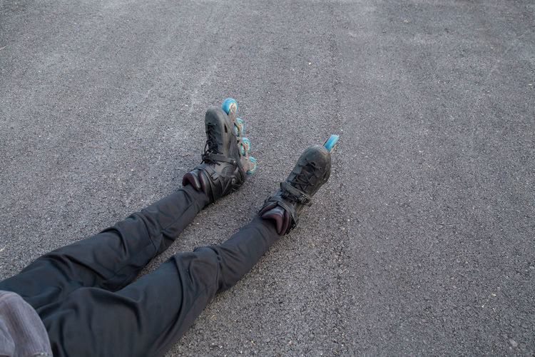 Low section of person legs on street