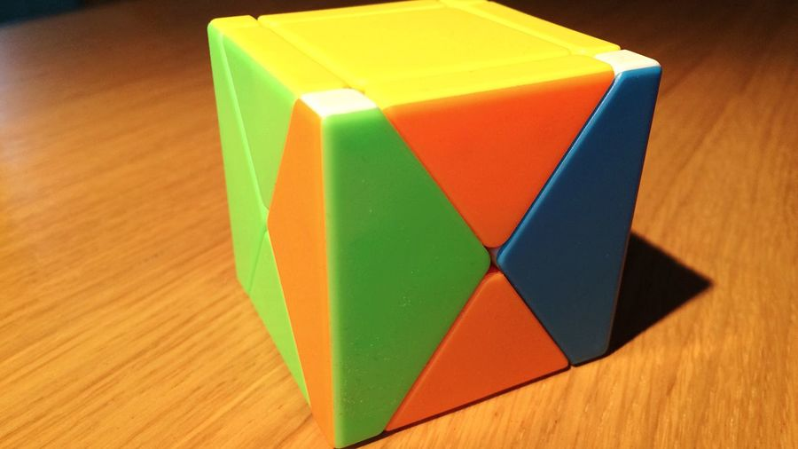 High angle view of multi colored toy on table