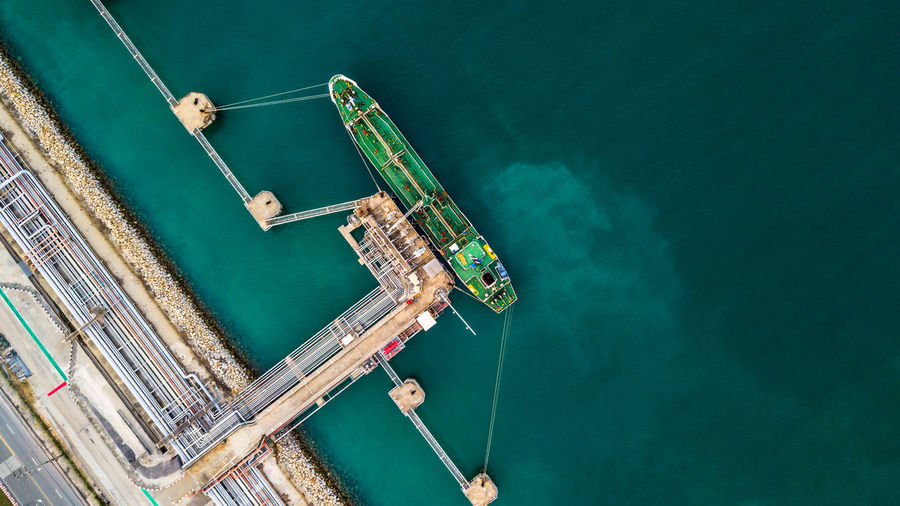 Aerial View Of Cargo Container Moored At Dock