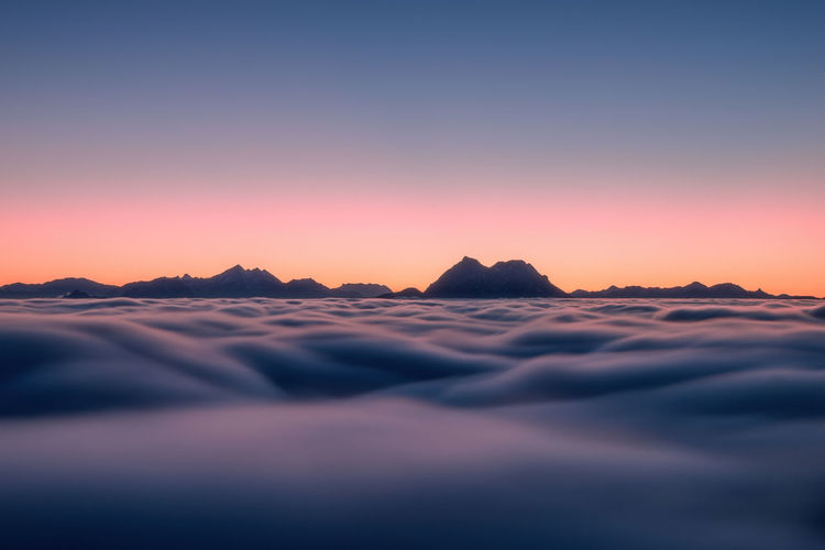 Sea of clouds in motion above salzburg, austria.