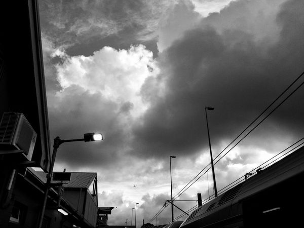 Huawei G9 Architecture Building Exterior Built Structure City Cityscape Cloud - Sky Day Low Angle View Mobilephotography No People Outdoors Road Sign Sky Streetphotography Urban Black And White Friday