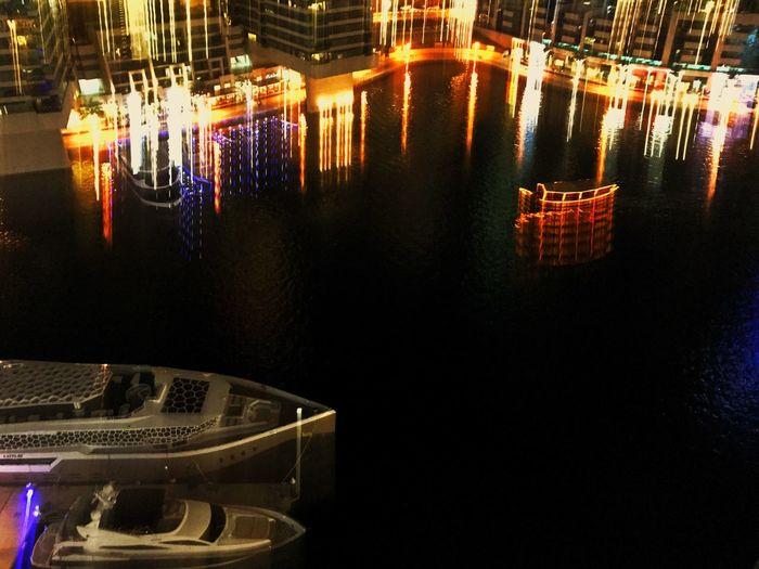 JLT Dubai JLT DXB Snapseed Mydubai Atlier Illuminated Reflection Water Night Built Structure Place Of Worship Architecture No People Flame Indoors