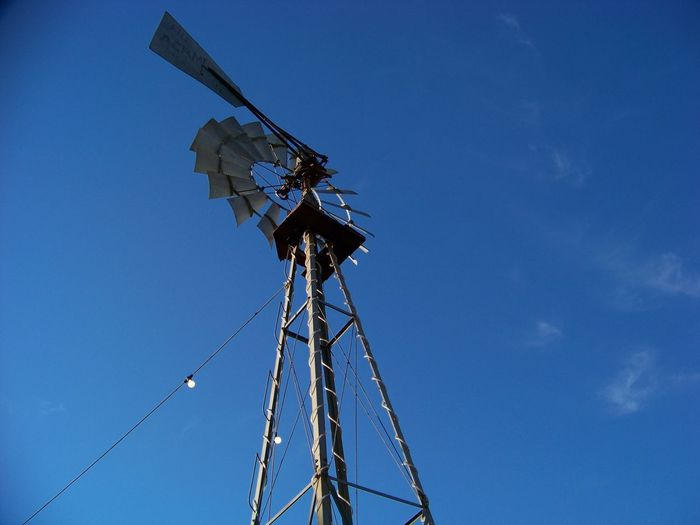 Alternative Energy Blue Clear Sky Day Green Power Low Angle View Mobile Photography No People Outdoors Renewable Energy Rural Scene Sky Technology Turbine Wind Power Wind Pump Wind Turbine Visual Creativity