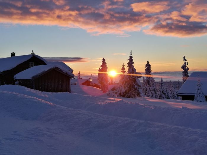 Sunrise Sunset Outdoors Cold Temperature Cloud - Sky Weather Sky Mountain Winter Snow No People