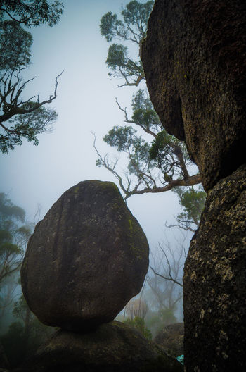 Balanced Rock Boulder - Rock Day Foggy Morning Landscape Mountain Nature No People Outdoors Rock - Object Sky Symmetry Tree