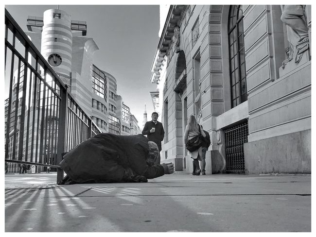 London Homeless Begging Blackandwhite Whiteborder Real People Building Exterior Architecture Built Structure Street Day Outdoors City Sky Full Length Men Mammal People EyeEm Ready