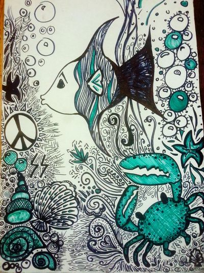 Starfish  Abstract Drawing Sharpie Art Fish Crab Bubbles Artbyme