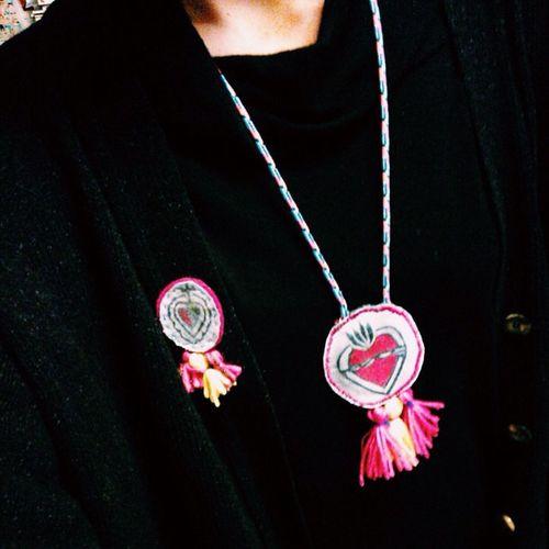 My ex-voto Handmade Heart Exvoto Mexican inspiration fabric clorophillaart necklace brooch