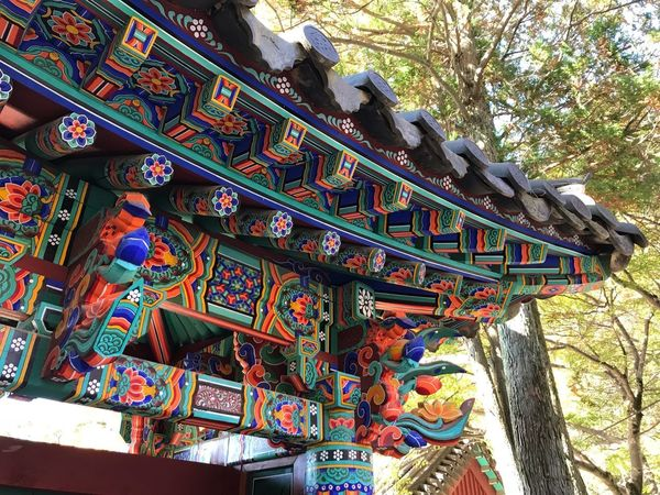 Tample Gyungju Korea Low Angle View Architecture Day Built Structure Art And Craft Creativity Multi Colored Pattern Building Design Sunlight