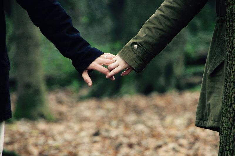 Close-up of couple holding hands at forest during winter